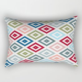 Multicolored Diamond Shapes Granny Pattern v1 Rectangular Pillow