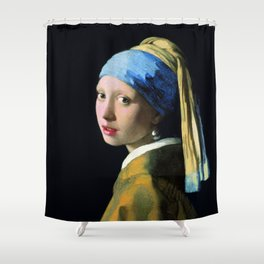 Jan Vermeer Girl With A Pearl Earring Baroque Art Shower Curtain