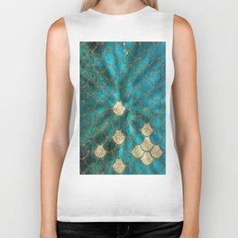 Multicolor Aqua And Gold Mermaid Scales -  Beautiful Abstract Pattern Biker Tank