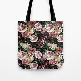 Vintage & Shabby chic - dark retro floral roses pattern Tote Bag