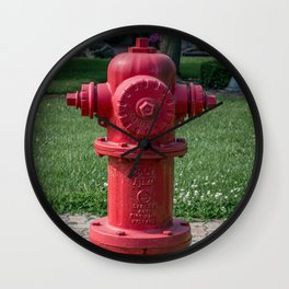 Red East Jordan Iron Works Long Barrel Fire Hydrant Red Fireplug Wall Clock