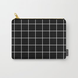 Square Grid Black Carry-All Pouch