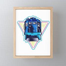 Retro Neon 80s Train Gift Locomotive Freight Train Railway Gift Framed Mini Art Print