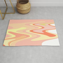 River of dreams, pink and yellow waves, colorful stream of water Rug