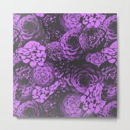 Moody Florals in Purple Metal Print