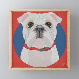English Bulldog (WHT)  Art Poster Icon Series by Artist A.Ramos.Designed in Bold Colors Framed Mini Art Print