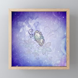 Bautiful butterflies with flowers Framed Mini Art Print