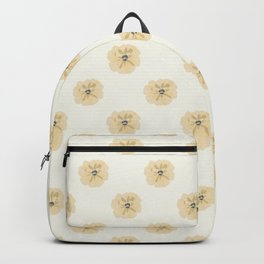 Modern Flowers Tan, Gold, Yellow, Grey Symmetrical, Elegant Simple Floral Repeat Contemporary Design Backpack