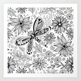 Dragonfly and flowers doodle Art Print