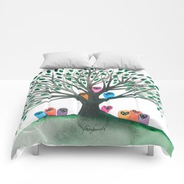 Minnesota Whimsical Owls in Tree Comforters
