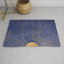 Twilight / Blue and Metallic Gold Palette Rug