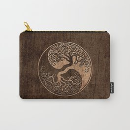 Rough Wood Grain Effect Tree of Life Yin Yang Carry-All Pouch