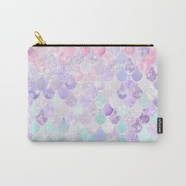 Cute Mermaid Pattern, Light Pink, Purple, Teal Carry-All Pouch
