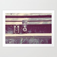 two cameras sitting on a park bench ...  Art Print
