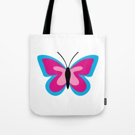 Blue Pink Butterfly - White Background Tote Bag