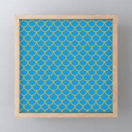 Mermaid Scale Pattern in Blue Framed Mini Art Print