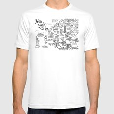 New York City Map Mens Fitted Tee MEDIUM White