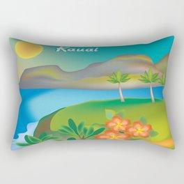 Kauai, Hawaii - Skyline Illustration by Loose Petals Rectangular Pillow