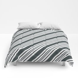 PPG Night Watch Pewter Green and Dark Green Thick and Thin Angled Lines - Stripes Comforters