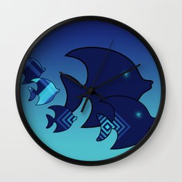 Nine Blue Fish with Patterns Wall Clock