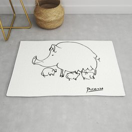 Pablo Picasso Pig Drawing, Lines Sketch, Animals Artowork, Men, Women, Kids, Tshirts, Posters, Print Rug
