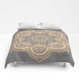 Mandala Flower Gray & Peach Comforters
