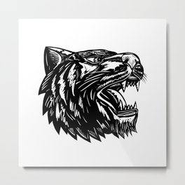 Growling Tiger Woodcut Black and White Metal Print