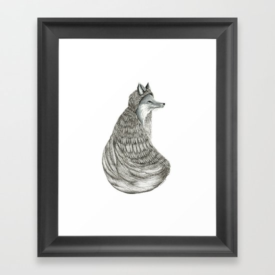 Fox- Feathered. Framed Art Print