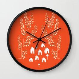 Line Vine Village in Red, Line Art Community Wall Clock