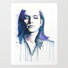 Brian Molko (Lilac) Art Print