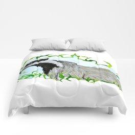 European Badger Watercolor Comforters