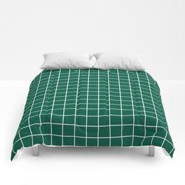 Castleton green - green color - White Lines Grid Pattern Comforters