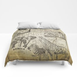 Out of Africa vintage wildlife art Comforters