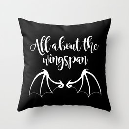 All About the Wingspan black design Throw Pillow