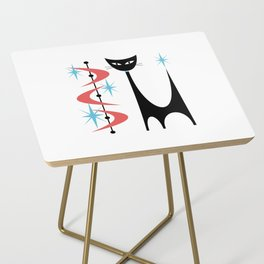Mid Century Modern Atomic Retro Abstract Cat in Pink and Turquoise Blue Side Table