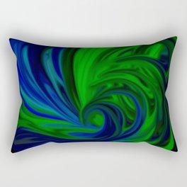 Blue and Green Wave Rectangular Pillow