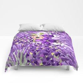 Lilac violet lavender lime green floral illustration Comforters