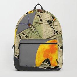 GOLDEN MOON MOTHS ON GREY Backpack