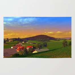 Small village skyline with sunset | landscape photography Rug