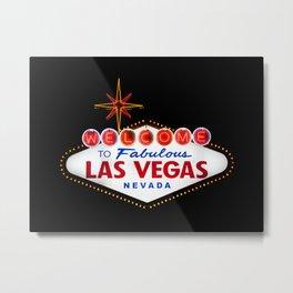 """Welcome to Fabulous Las Vegas Nevada"" - Retro sign with neon light Metal Print"