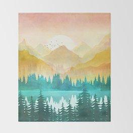 Summer Mountain Sunrise Throw Blanket