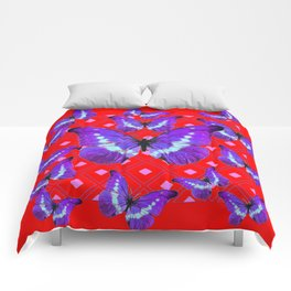 Purple Butterflies Flight on  Chinese Red Color Pattern Comforters