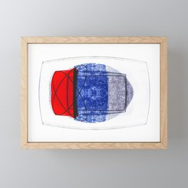 Blue and Red (with elipse and square) Framed Mini Art Print