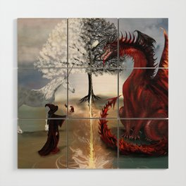 The Owl,Wizard,Unicorn and the Dragon Wood Wall Art
