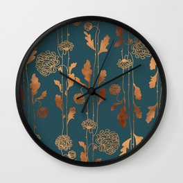 Art Deco Copper Flowers Wall Clock