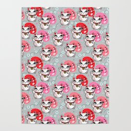Kyoto Kitty on Grey Poster