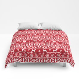 Bloodhound fair isle christmas sweater red and white minimal dog silhouette holiday gifts Comforters