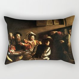 The Calling Of St Matthew Depiction By Caravaggio Rectangular Pillow