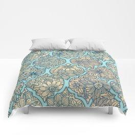 Moroccan Floral Lattice Arrangement - aqua / teal Comforters