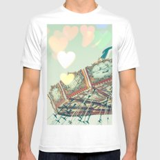 Swing Carousel and heart bokeh on pale blue MEDIUM White Mens Fitted Tee